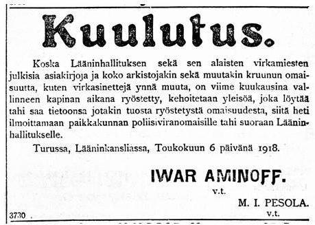 kuulutus lääninhallitus 8.5.1918